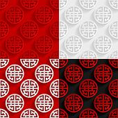 Set of traditional Chinese seamless patterns. Vector illustration