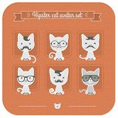 Hipster Cat Avatar Set On Pink