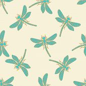 stock photo of dragonflies  - Seamless background with decorative dragonflies - JPG