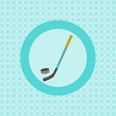 Hockey Stick And Puck Flat Icon