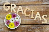Gracias (which means thank you in Spanish) written with wooden letters and santini flowers