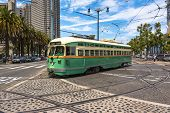 The green historic tram in San Francisco