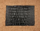 Frame Of Burlap, Lies On A Background Of Leather