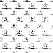 seamless pattern with frog and  butterfly