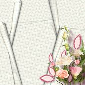 Bouquet Of Beautiful Pink Roses With The Invitation Or Congratulation On The White Paper