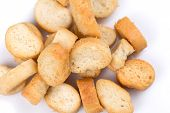 White Bread Croutons On A White Background