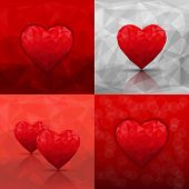 Set of abstract backgrounds with hearts in modern triangle style