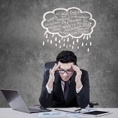 Stressful Manager With Cloud Tag Of Problems