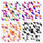 Tile vector pattern set with colorful wrapping triangle mosaic background