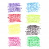 Set of colored pencil spots