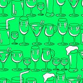 Seamless Pattern With Cocktail Glasses For Restaurant Or Bar Menu