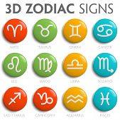 image of pisces horoscope icon  - Zodiac signs astrological symbols icon set isolated - JPG