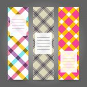 Set of Vertical Plaid Banners. Abstract Geometric ornament. Vector Illustration.
