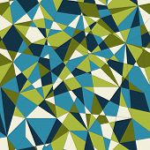 Abstract mosaic pattern with triangles. Seamless vector. Green blue colors.