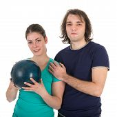 Young Man And Woman With Bowling Ball