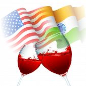 illustration of toast of glasses showing India-America relationship