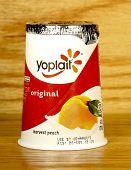 Container Of Yoplait Harvest Peach Yogurt