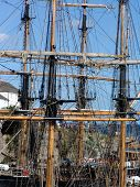 picture of yardarm  - Mastheads of two tallships in Cornwall - JPG