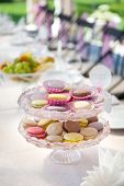 Macarons At The Served Festive Table