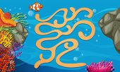 pic of game-fish  - Illustration of a maze game with underwater background - JPG