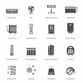 image of ventilator  - Heating ventilation and conditioning vector icons set - JPG