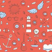 Sea Doodle Seamless Hipster Pattern Over Red