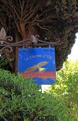 Sign Of The Famous Local Restaurant  La Colombe Dor In Saint Paul De Vence
