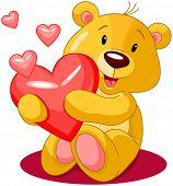 Cute little bear holds red heart