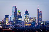 stock photo of london night  - London skyline from Greenwich with lights at night - JPG