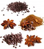 Set of coffee beans, dark chocolate, cinnamon and anise