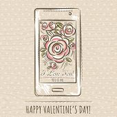 Valentine Card With Smartphoneand Roses,  Vector