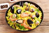 Seafood Paella in pan close-up