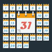Calendar with days of month. Flat style