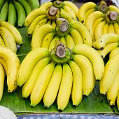 Bunch Of Bananas On Banana Leaf