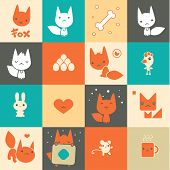 Set Of Colorful Fox Icons