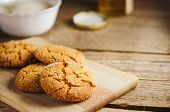Homemade Sugar Cookies With Honey On Wooden Board