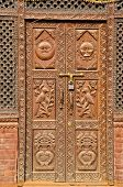 Ornate Beautiful Carved Wooden Door In Asia