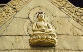 Golden Buddha On Asia Temple Wall, Kathmandu
