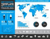 Infographic template for tourism, traveling and holiday transport with charts and diagrams
