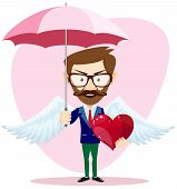 Angel Man with an umbrella Wings and Heart