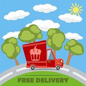Free Delivery Van Truck With Cake Vinyl Logo. Vector.