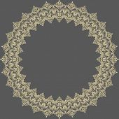 Damask Vector Pattern. Orient Round Ornament