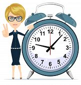 Smiling modern business woman showing victory gesture and standing with a big  alarm clock