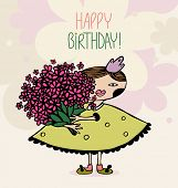 girl with a bouquet of flowers. birthday card. eps8