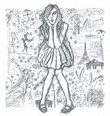 Love concept. Vector Sketch, comics style surprised blonde woman  in dress, against background with love story elements