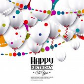 Vector birthday card with white balloons and colorful confetti.
