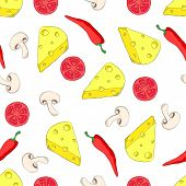 Pizza ingredients seamless pattern on white