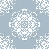 Damask Seamless Vector Pattern. Orient Background with Blue and White Colors