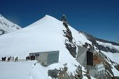 People And Buildings On Jungfaujoch Pass In Switzerland.