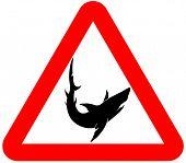 sign attention shark